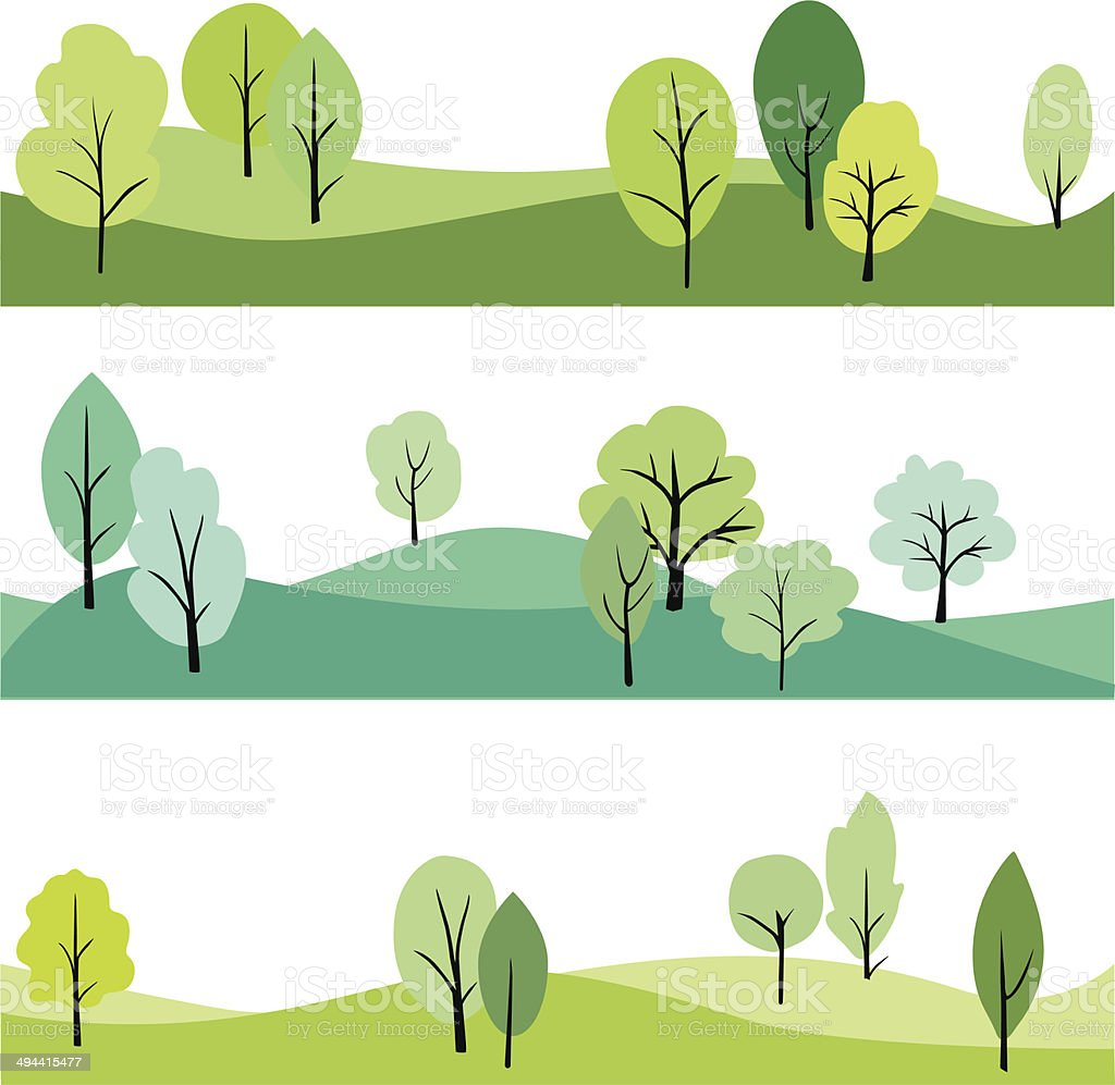 set of landscape with trees vector art illustration