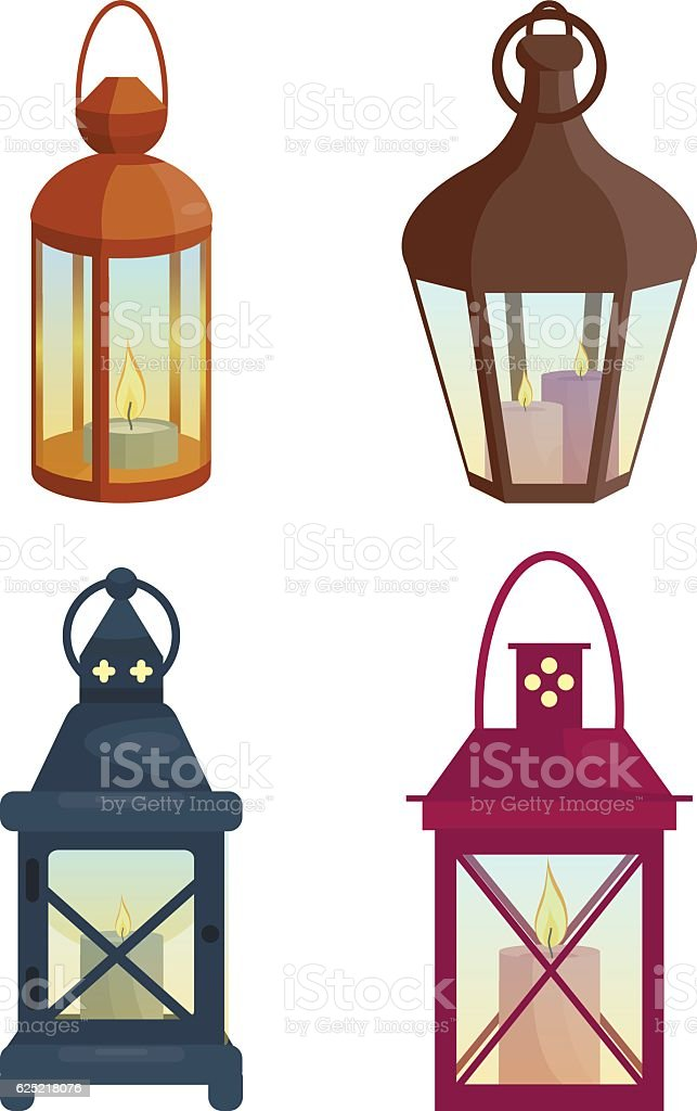 Set of  lanterns vector art illustration