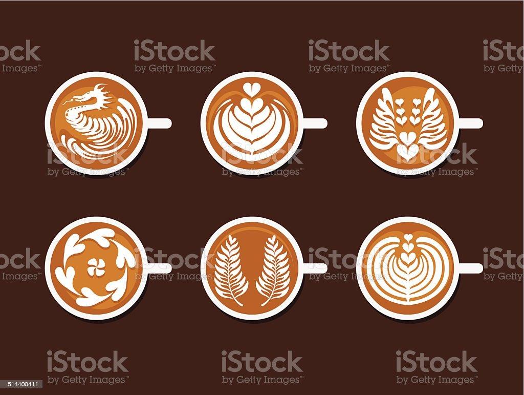 Set of Latte Art White Cup vector art illustration