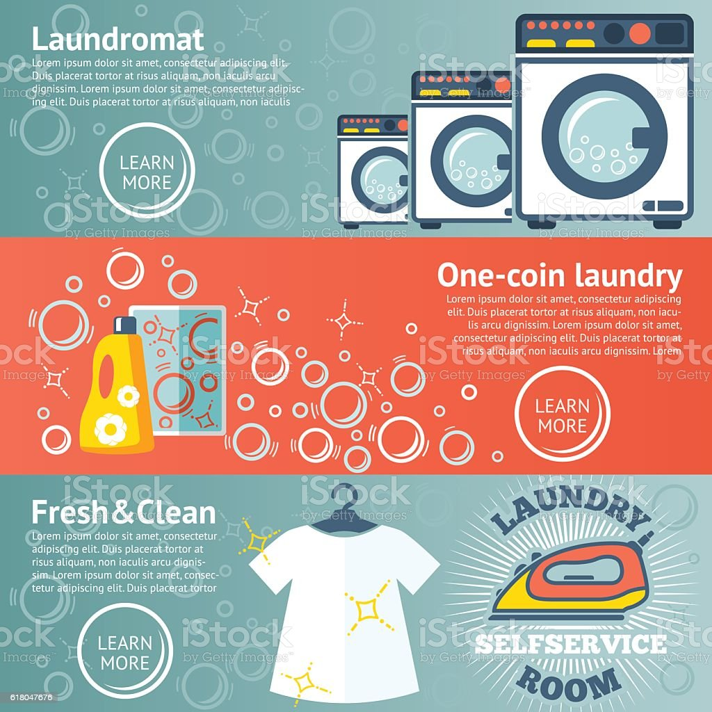 Set of Laundry banners with laundromat, detergents, iron and clothes vector art illustration