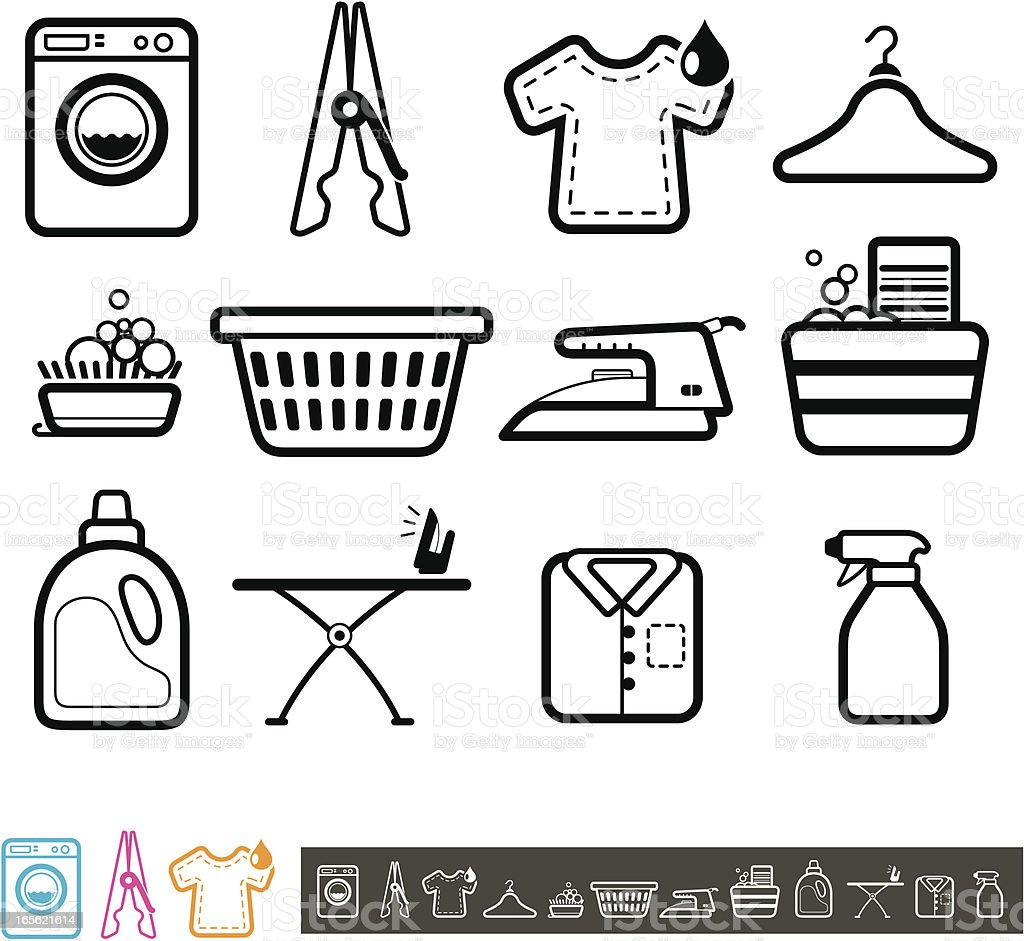 Set of laundry icons royalty-free stock vector art