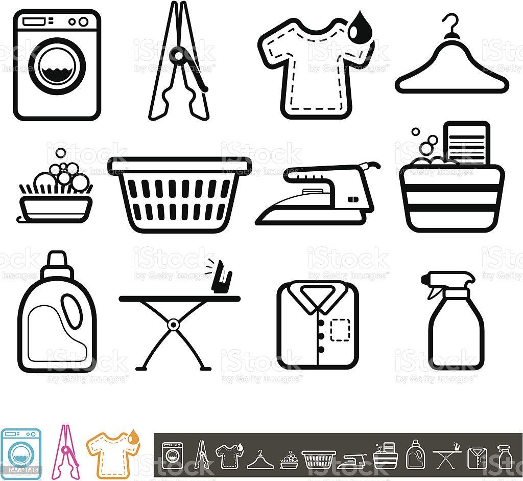 Set of laundry icons vector art illustration