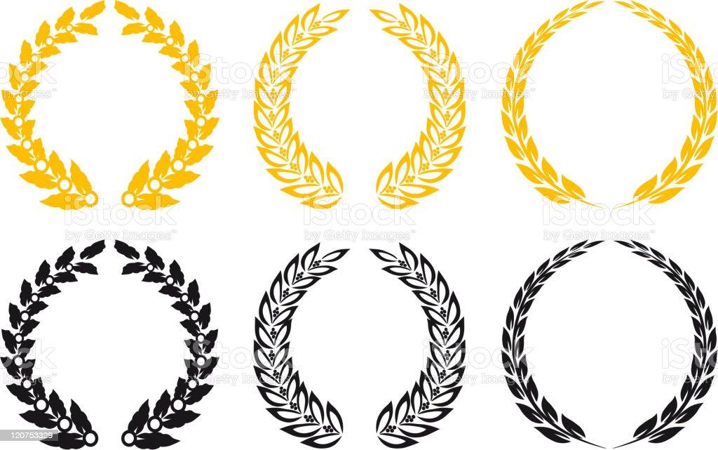 Set of laurel wreathes royalty-free stock vector art