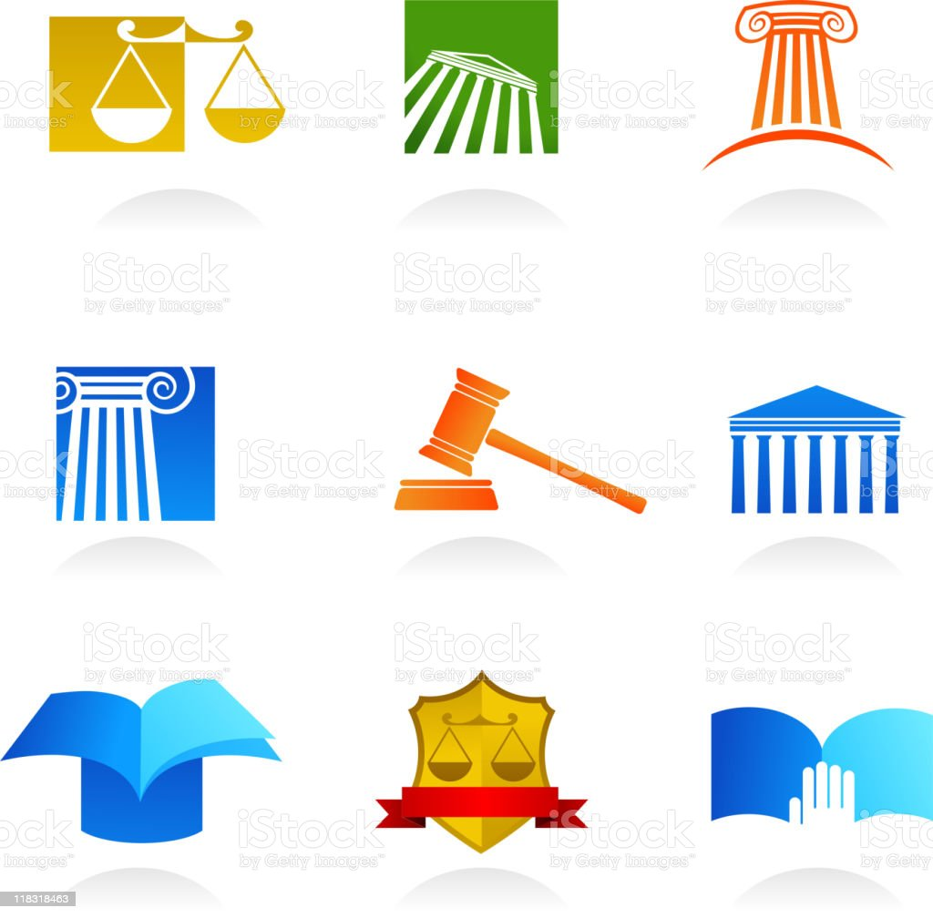 set of law icons vector art illustration