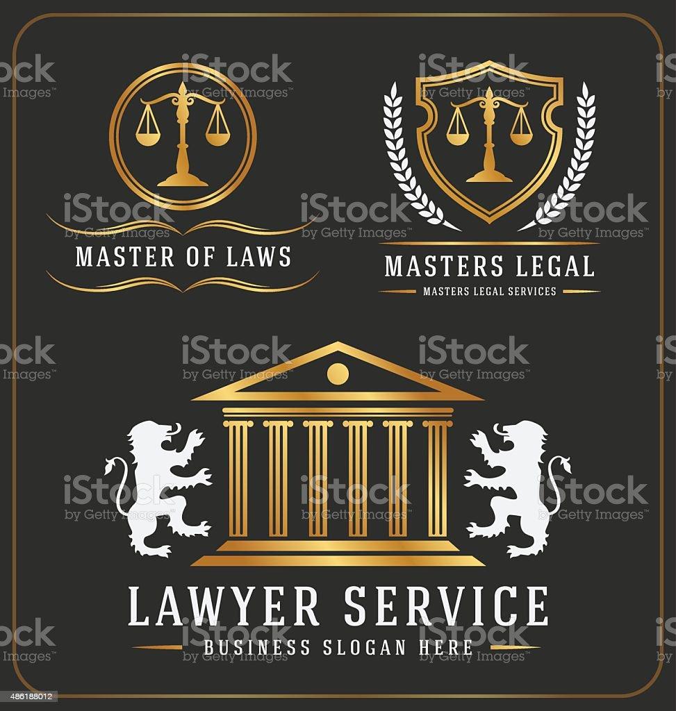 Set of lawyer service office logo template design vector art illustration