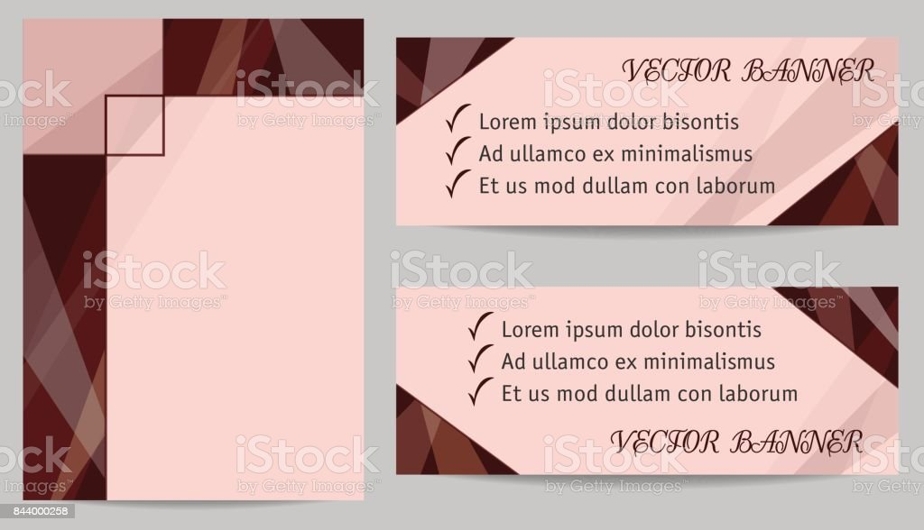 Set of layouts for cover (book, magazine, brochure, portfolio, annual report) and two banners. Geometric backgrounds with text place, technology templates, dark brown, chocolate colour. EPS10 vector illustration vector art illustration