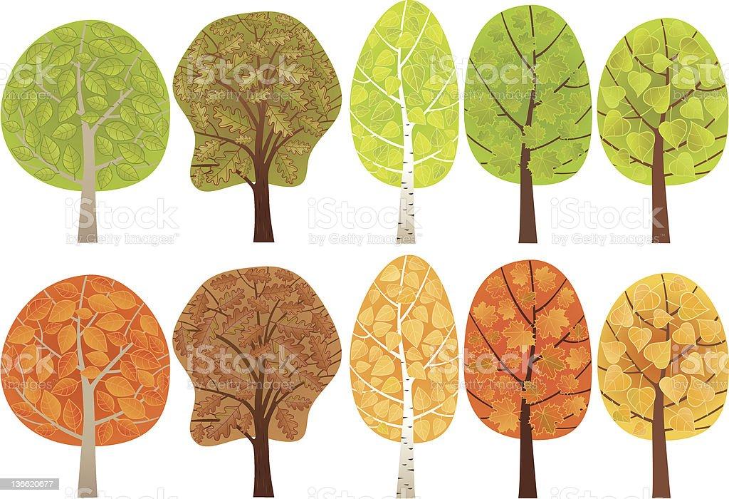 Set of leafy trees royalty-free stock vector art