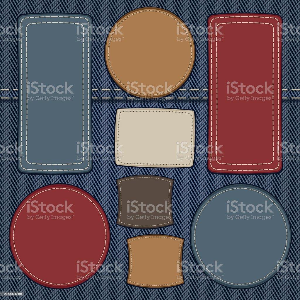 set of leather labels on denim vector art illustration