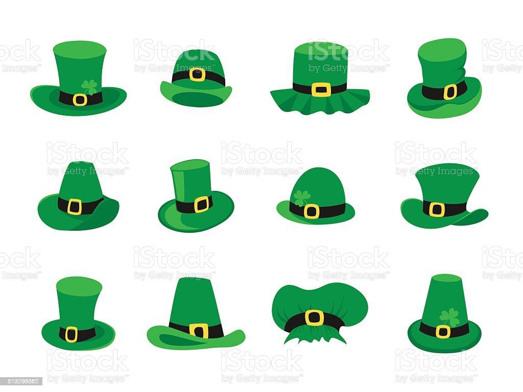 set of leprechaun hats st patricks day symbol stock vector art