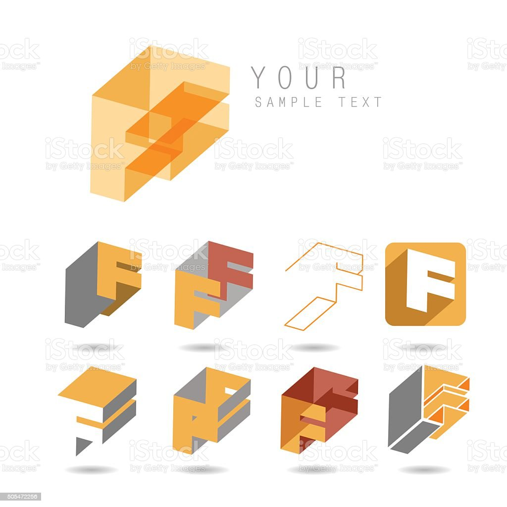 Set of letter F icons vector art illustration