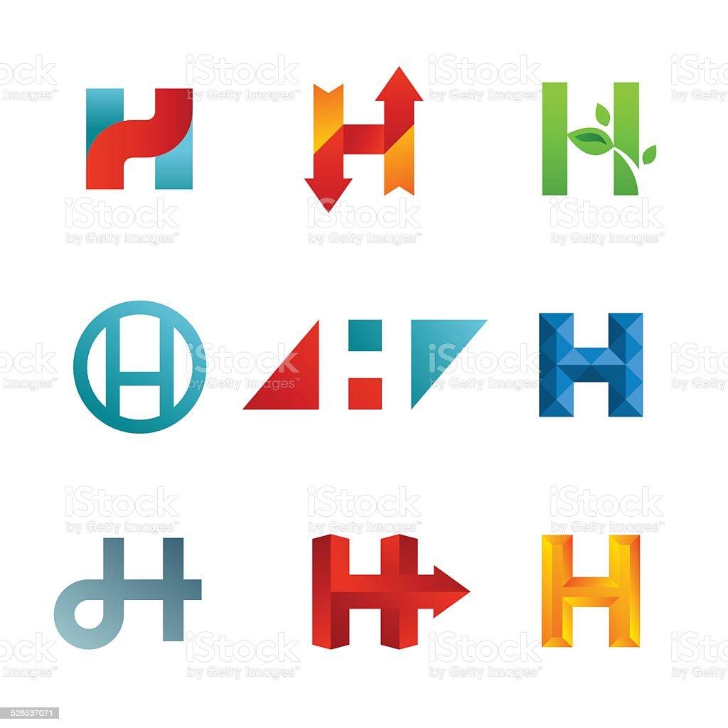 Set of letter H emblem icons design template elements vector art illustration