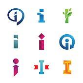 Set of letter I emblem icons design template elements