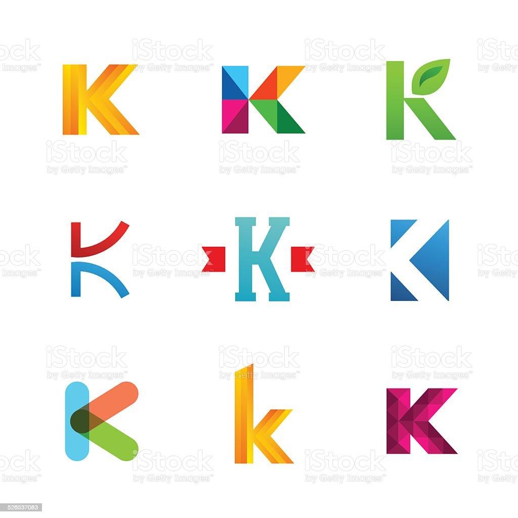 Set of letter K emblem icons design template elements. Collection vector art illustration