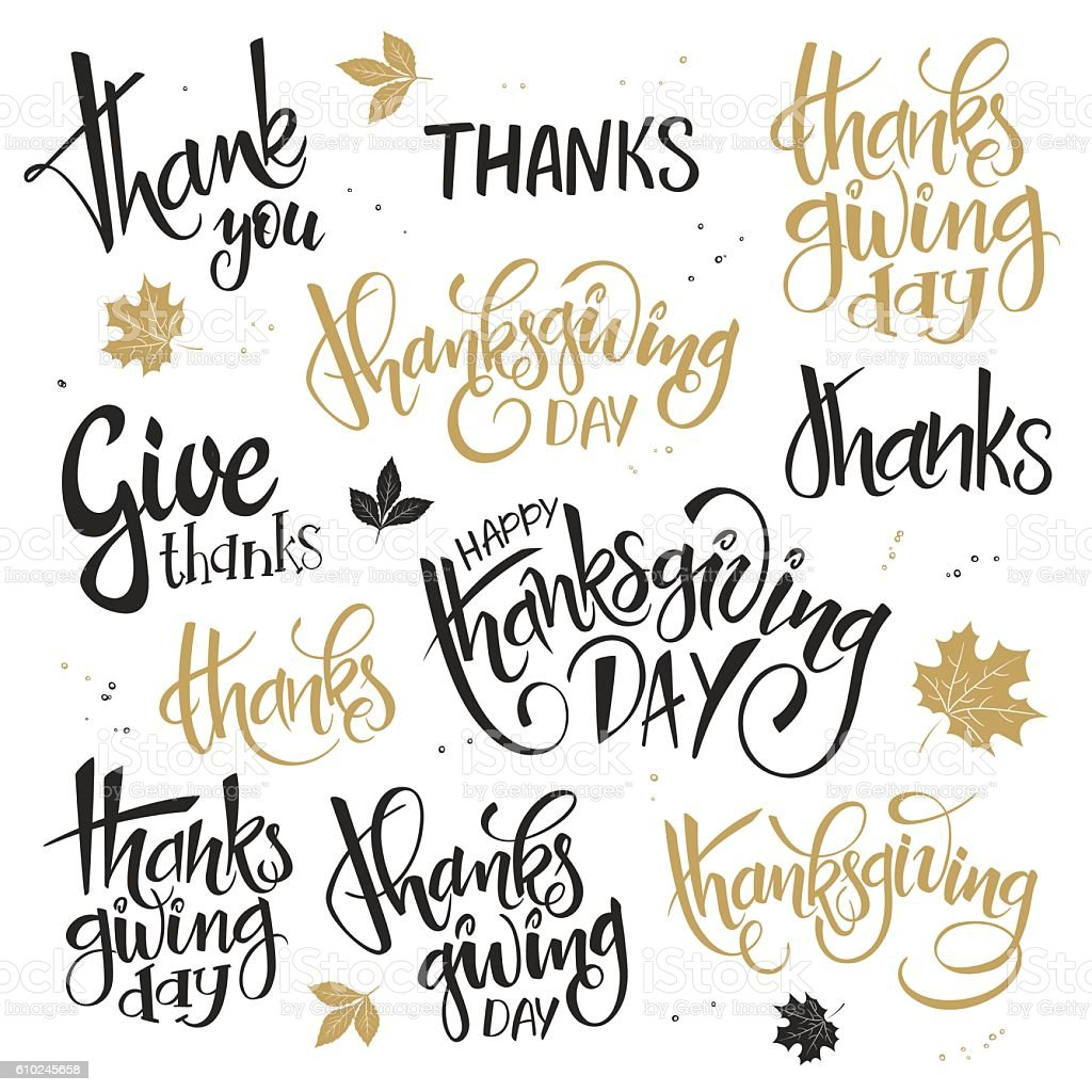 set of lettering thanksgiving day quotes vector art illustration