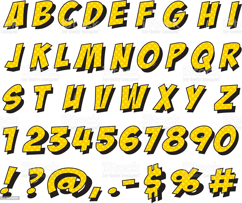 Set of letters and numbers in cartoon font - Illustration vector art illustration