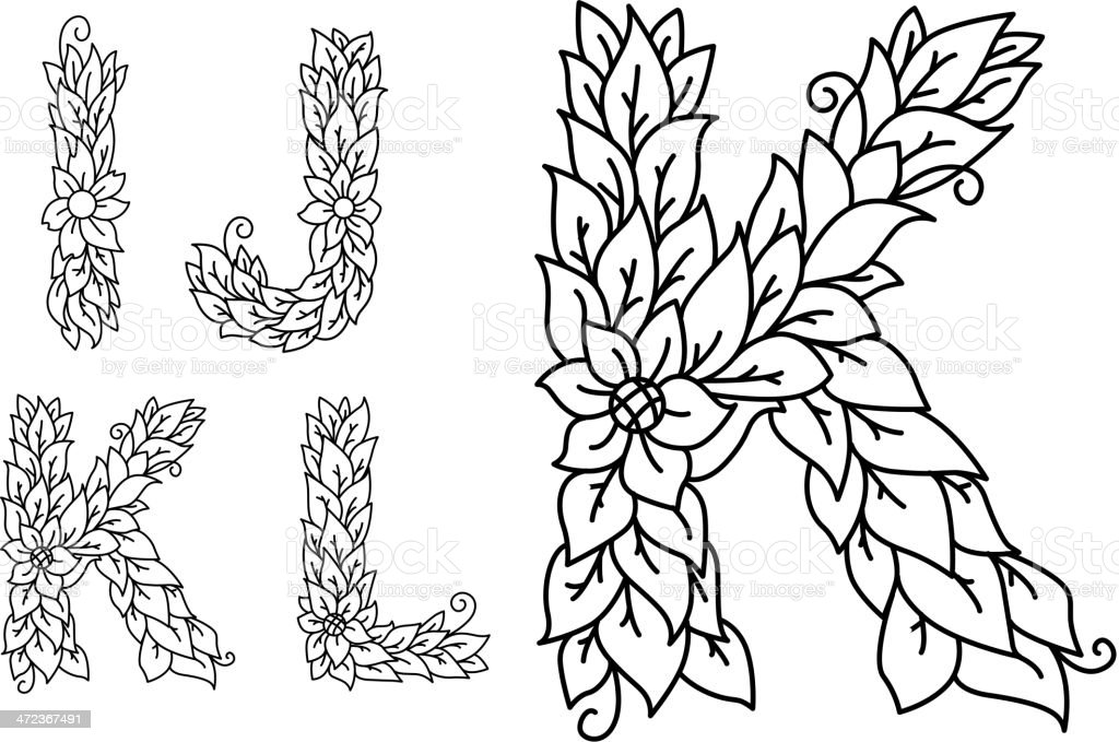 Set of letters in floral style royalty-free stock vector art