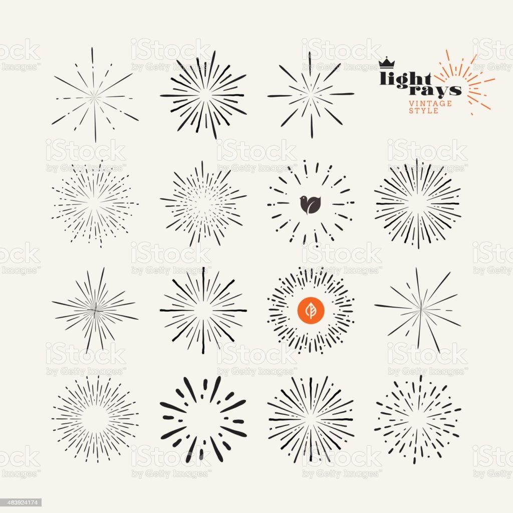 Conjunto de elementos vintage estilo los rayos de luz illustracion libre de derechos libre de derechos