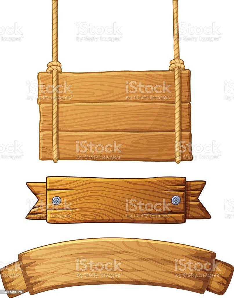 Set of light wooden banners. Vector illustration vector art illustration