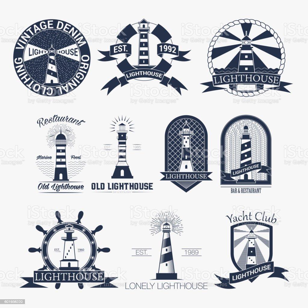 Set of lighthouses label,logo or badge template. Vector illustration. vector art illustration
