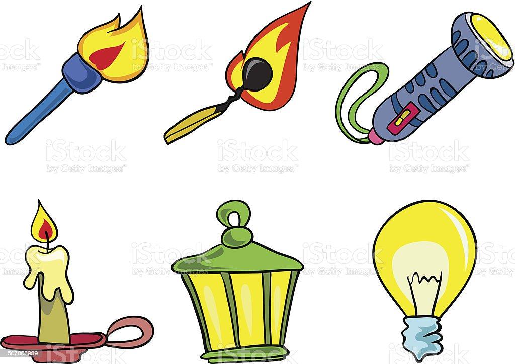set of lights icons, vector illustration on white background vector art illustration