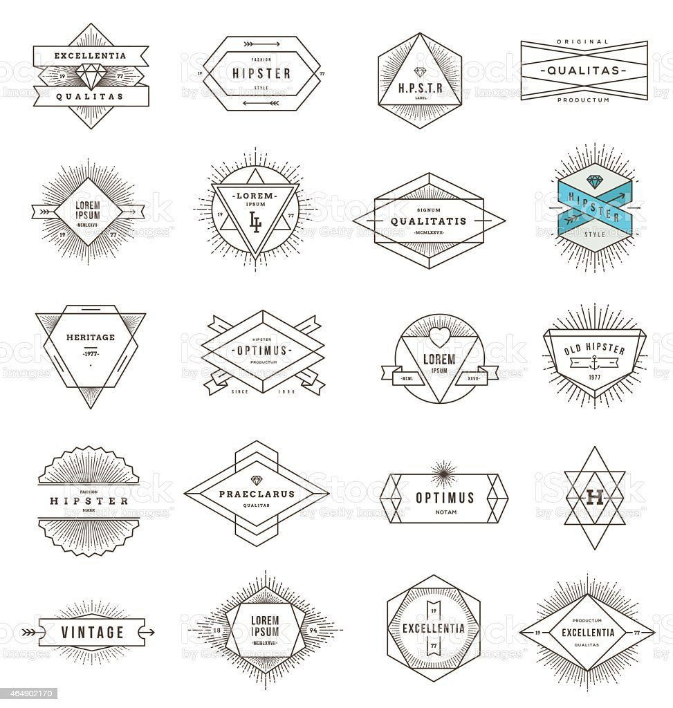 A set of line art emblems on a white background vector art illustration