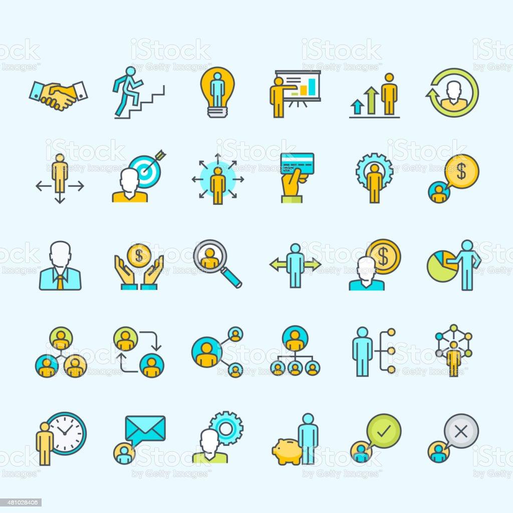 Conjunto de iconos de colores de la gente de negocios y finanzas illustracion libre de derechos libre de derechos