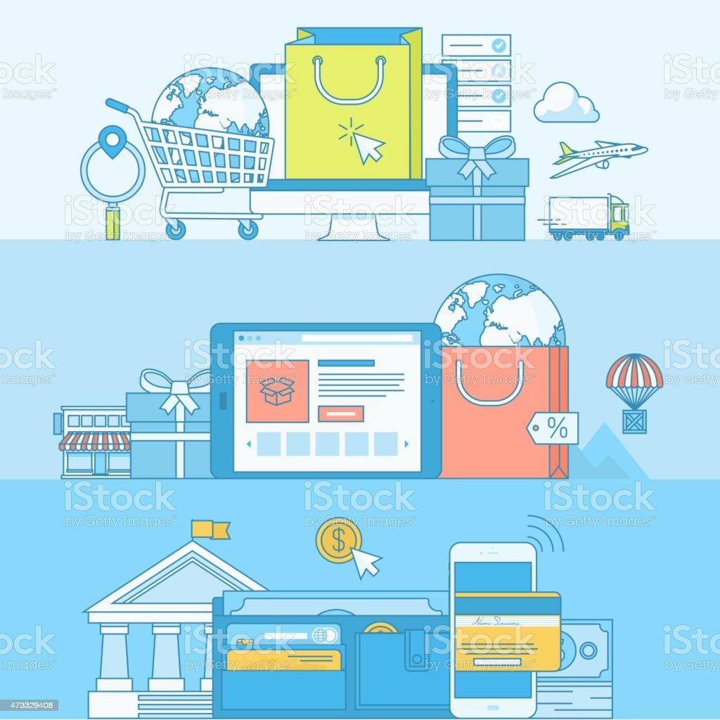 Conjunto de concepto de banners para el comercio electrónico illustracion libre de derechos libre de derechos