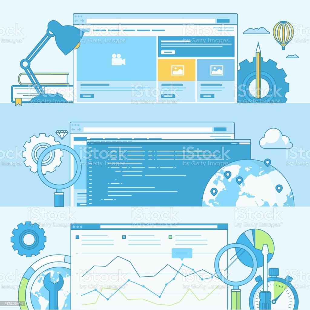 Conjunto de banners de concepto de desarrollo web illustracion libre de derechos libre de derechos