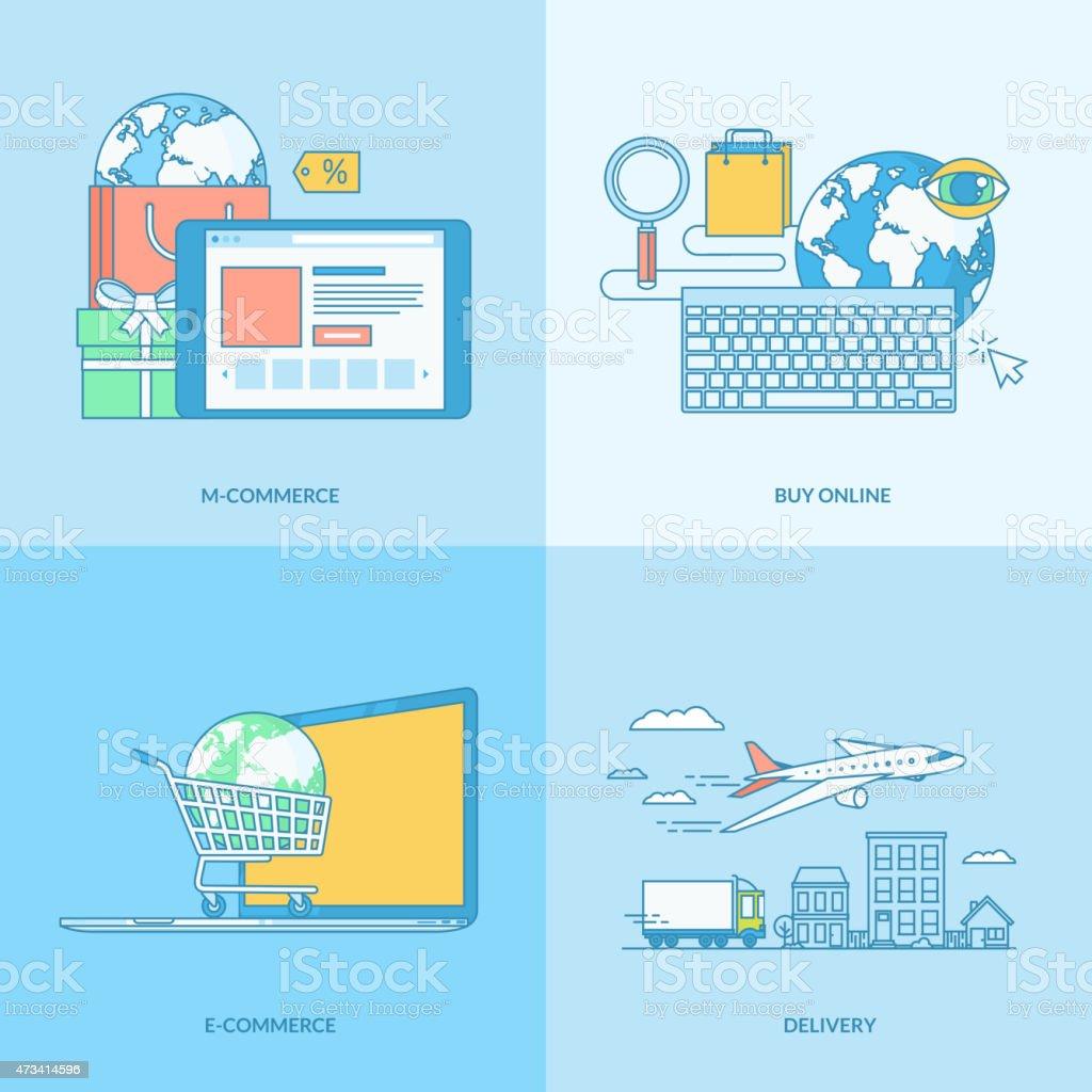 Conjunto de iconos de concepto de comercio electrónico illustracion libre de derechos libre de derechos