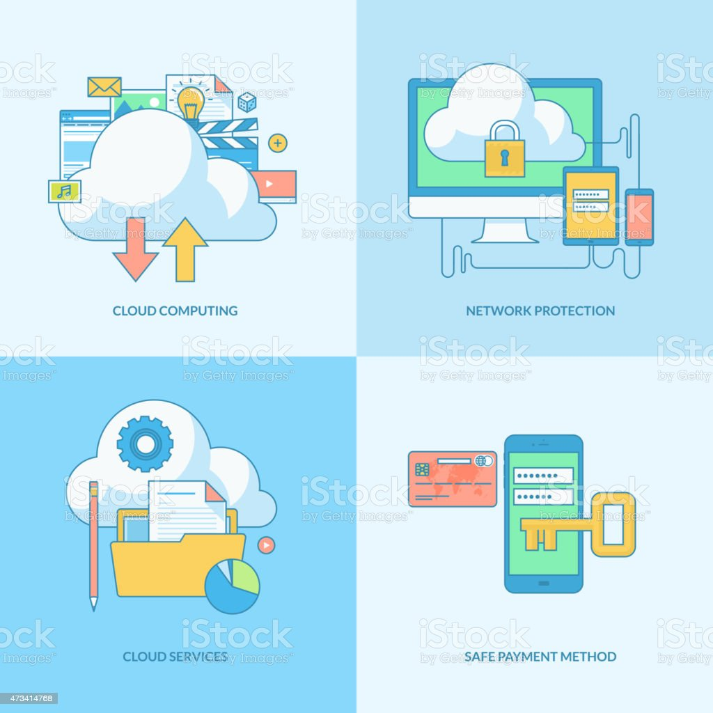 Conjunto de iconos de concepto de seguridad de internet illustracion libre de derechos libre de derechos