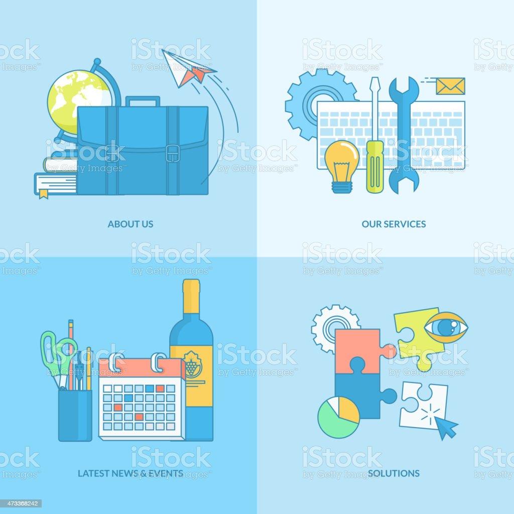 Conjunto de iconos de concepto de diseño plano, elementos illustracion libre de derechos libre de derechos