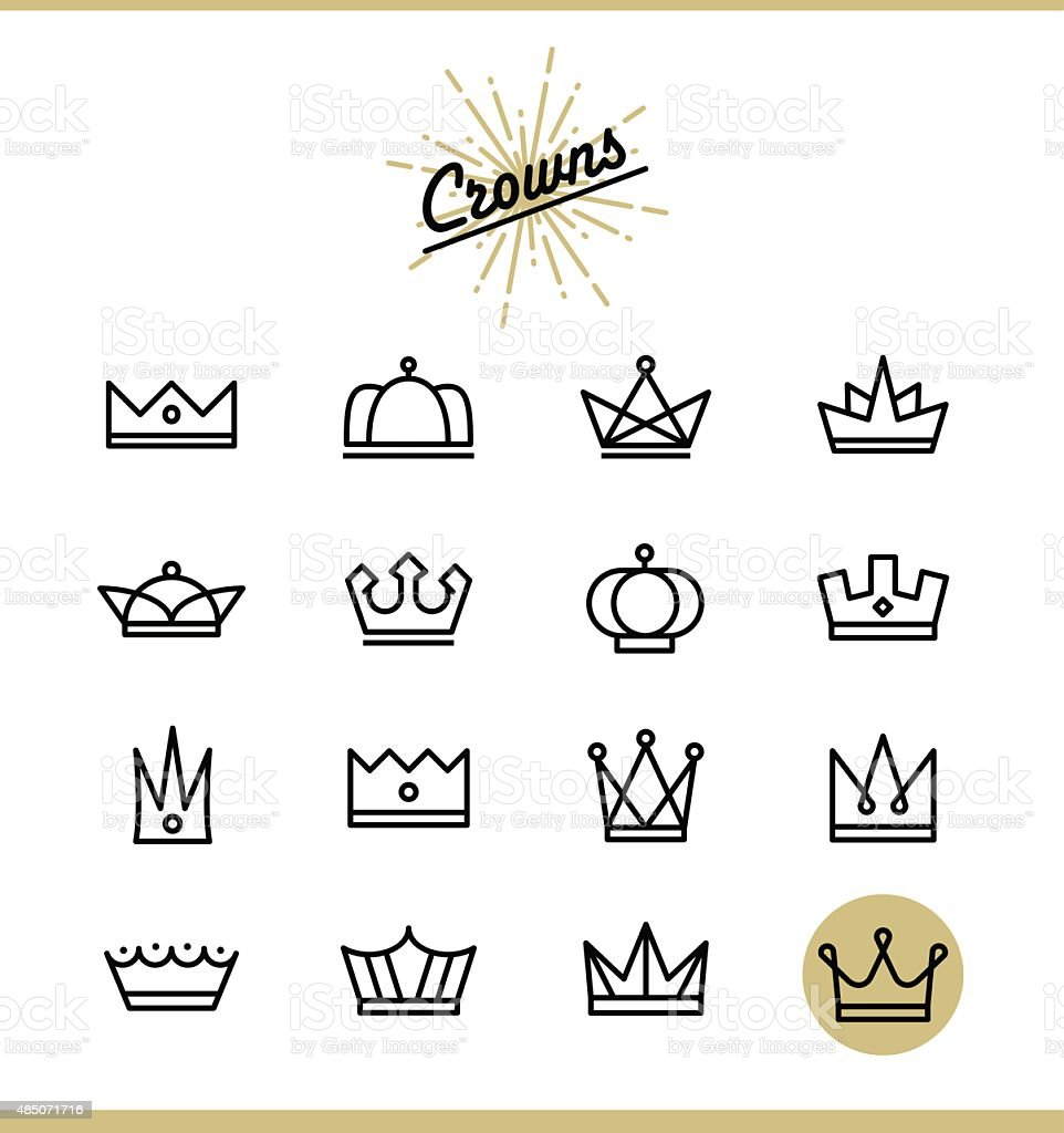 Set of line crown icons vector art illustration