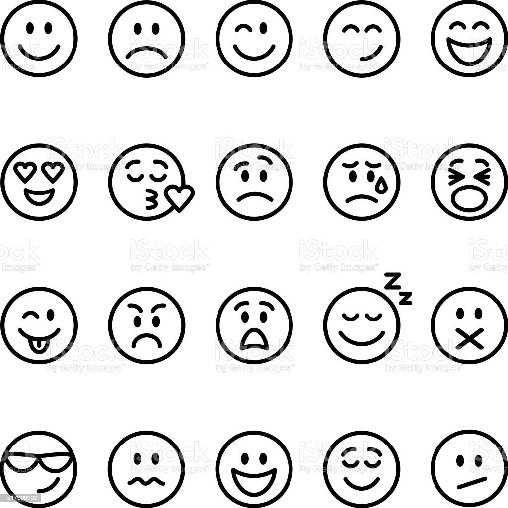 Set of line emoticons vector art illustration