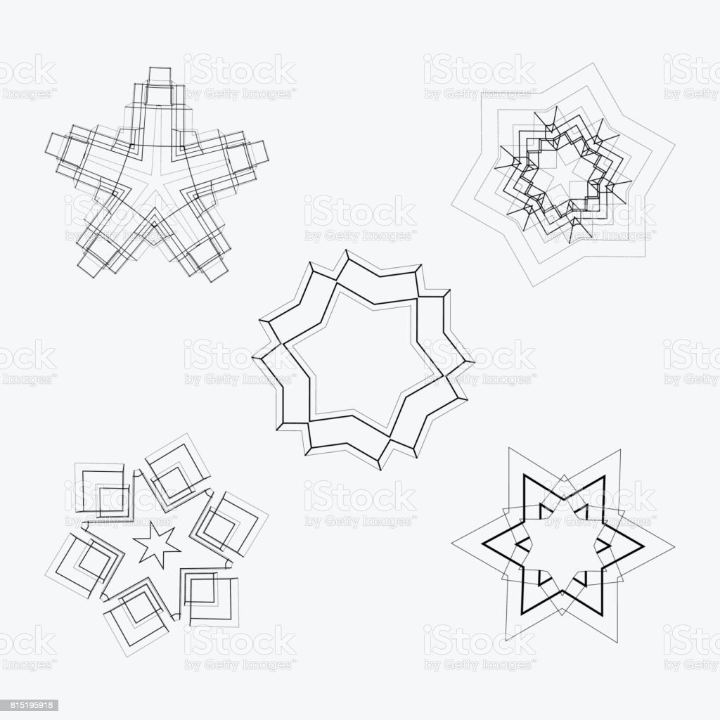 set of line geometric pattern vector art illustration