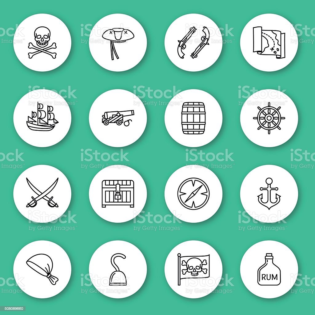 Set of line icon. Pirate vector art illustration
