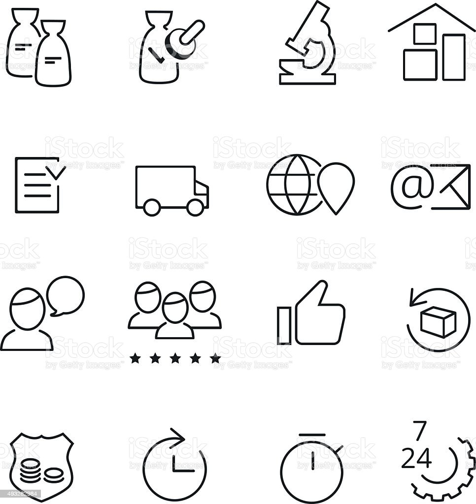 Set of line icons for manufacturing and production vector art illustration