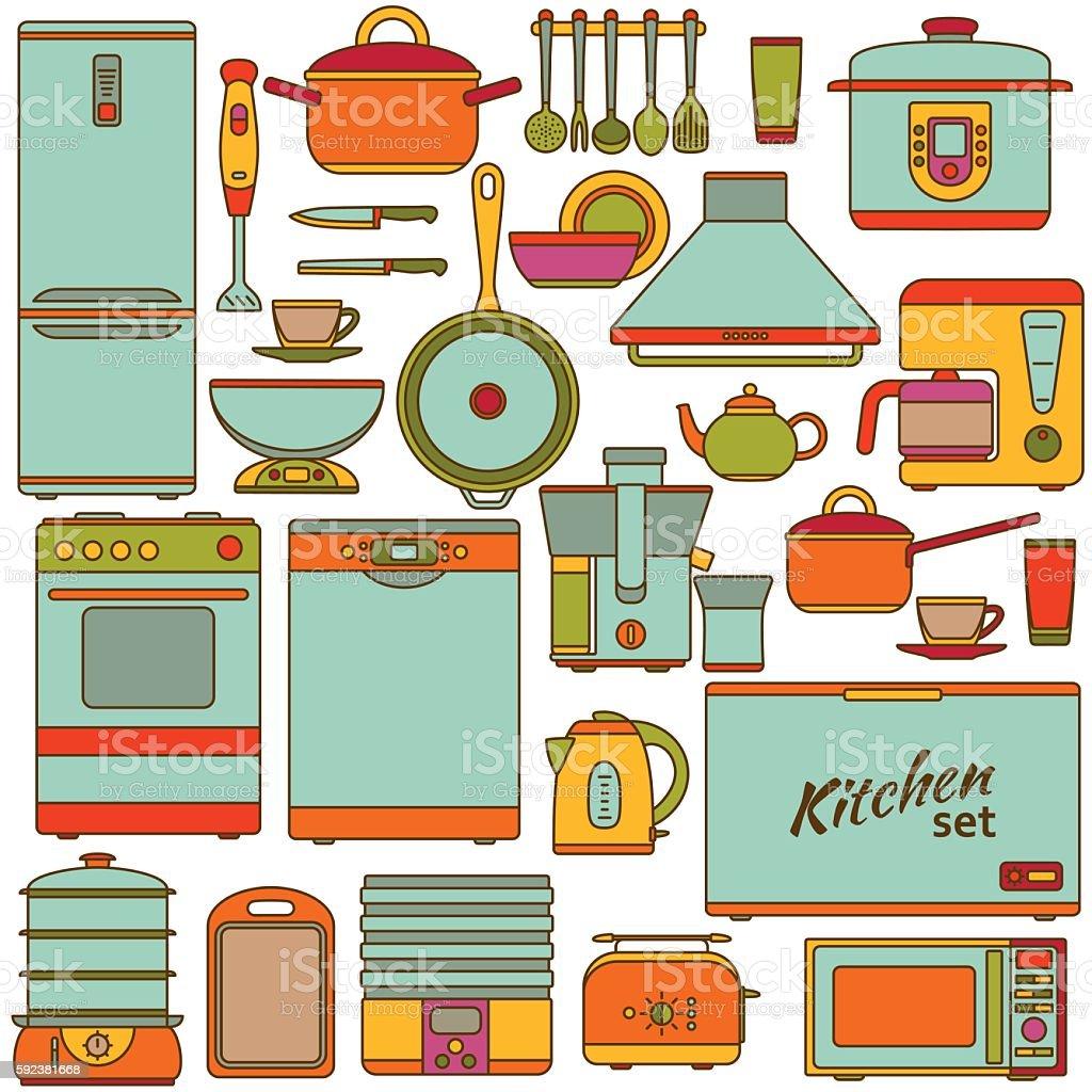 Uncategorized Kitchen Appliances On Credit set of line icons kitchen appliances vector illustration royalty free