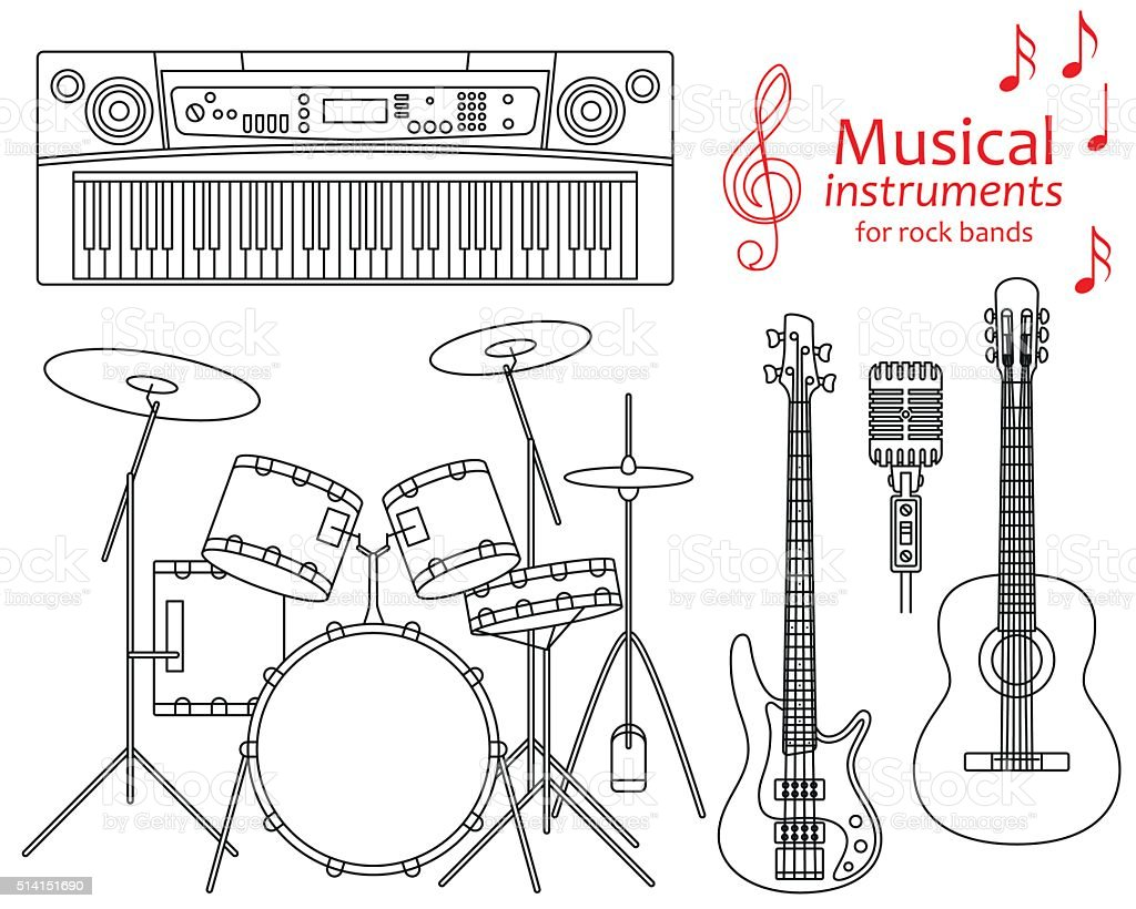 Set of line icons. Musical instruments for rock bands vector art illustration
