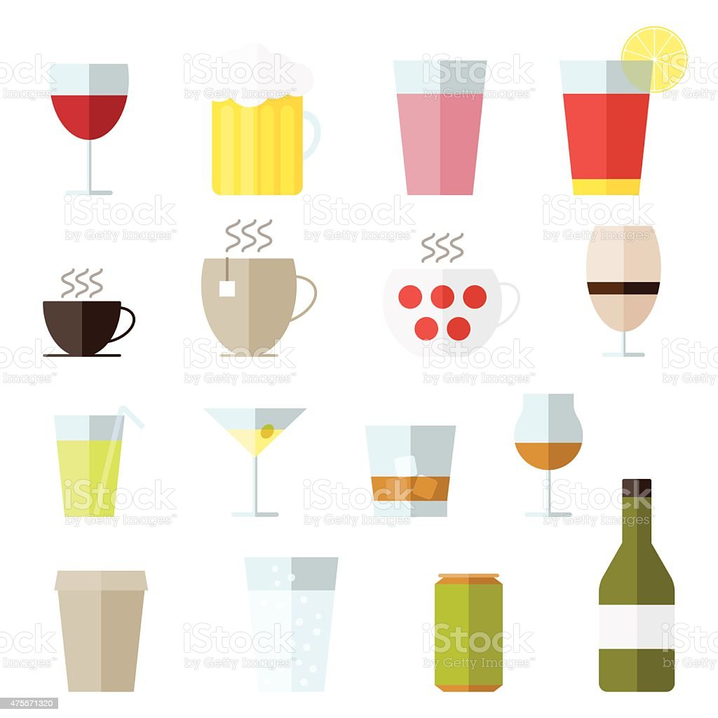 Set of line icons with drinks vector art illustration