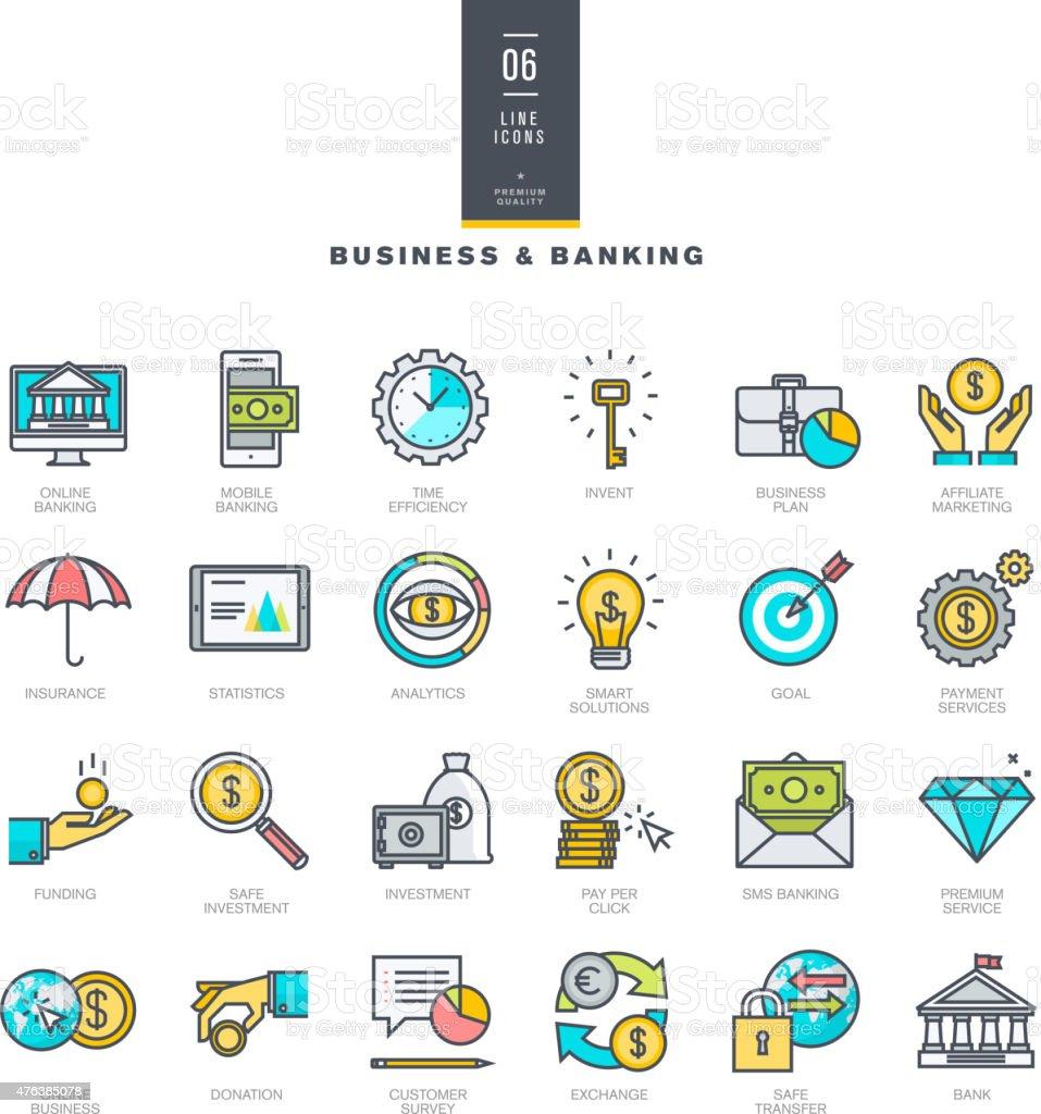 Conjunto de iconos de colores modernos para negocios y bancario illustracion libre de derechos libre de derechos