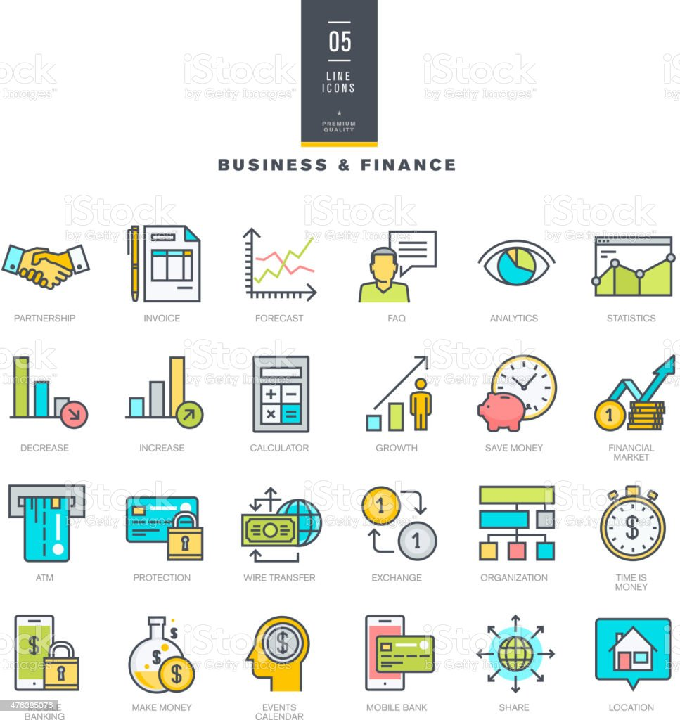 Set of line modern color icons for business and finance vector art illustration