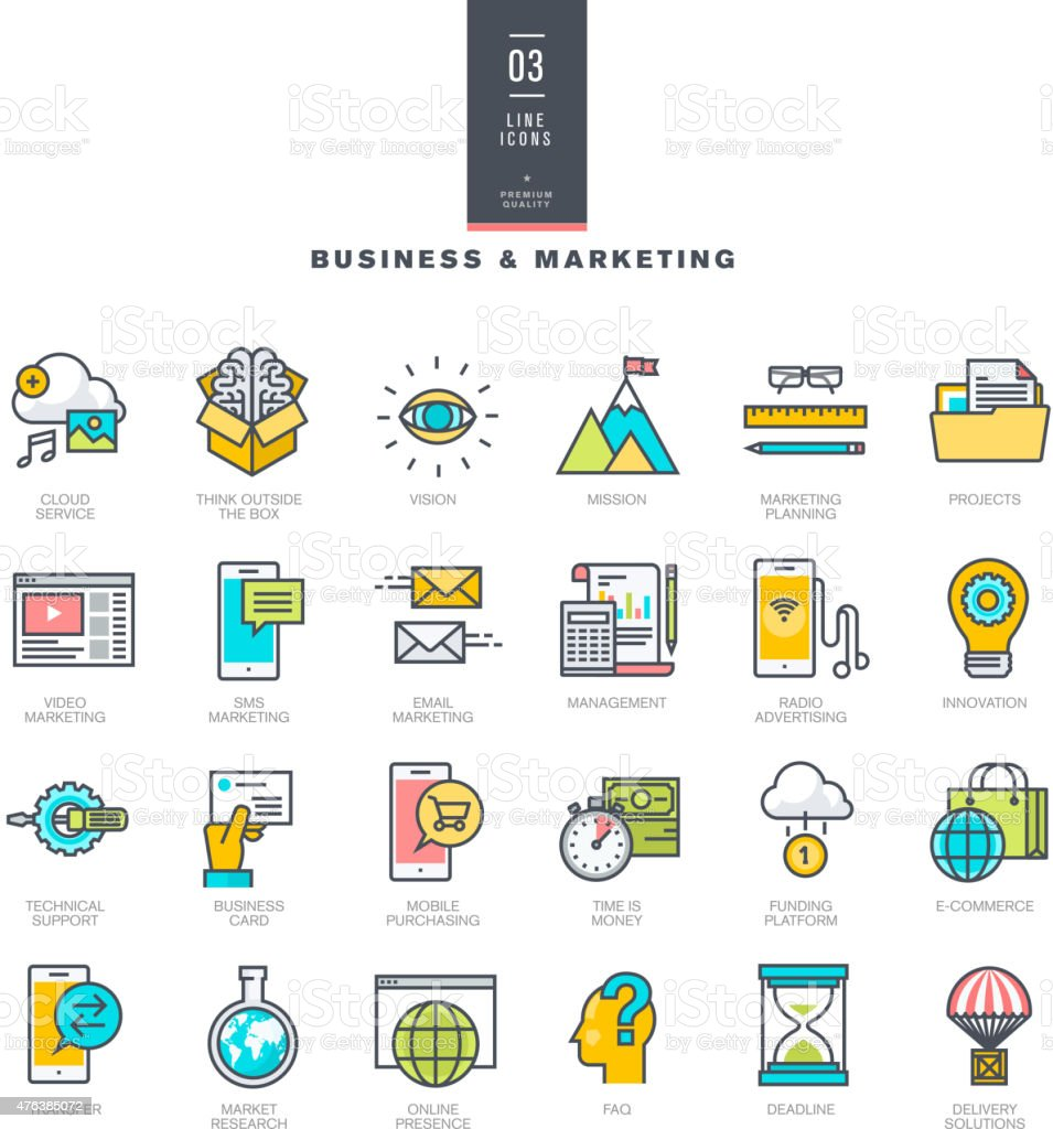 Set of line modern color icons for business and marketing vector art illustration