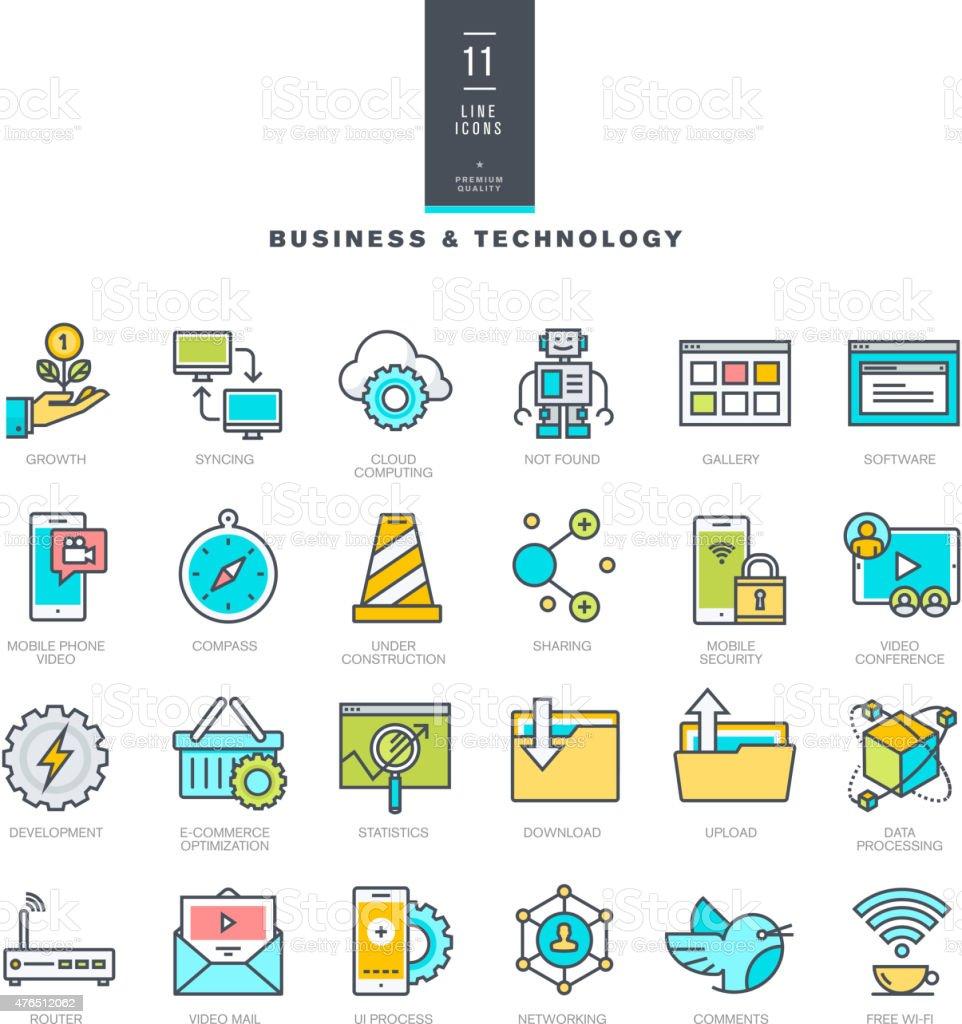 Conjunto de iconos de colores modernos para los viajeros de negocios y de la tecnología illustracion libre de derechos libre de derechos