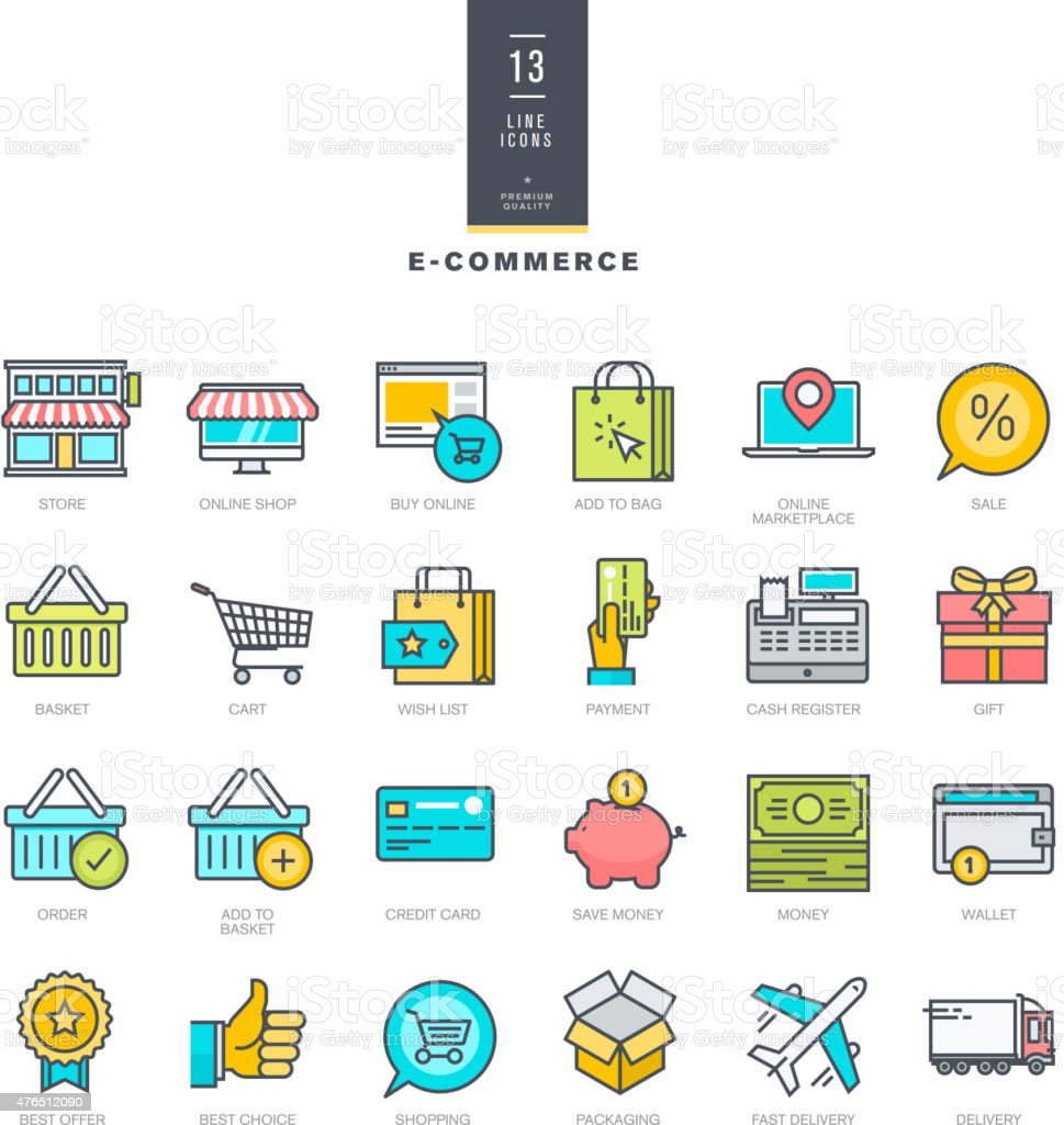 Set of line modern color icons for e-commerce vector art illustration