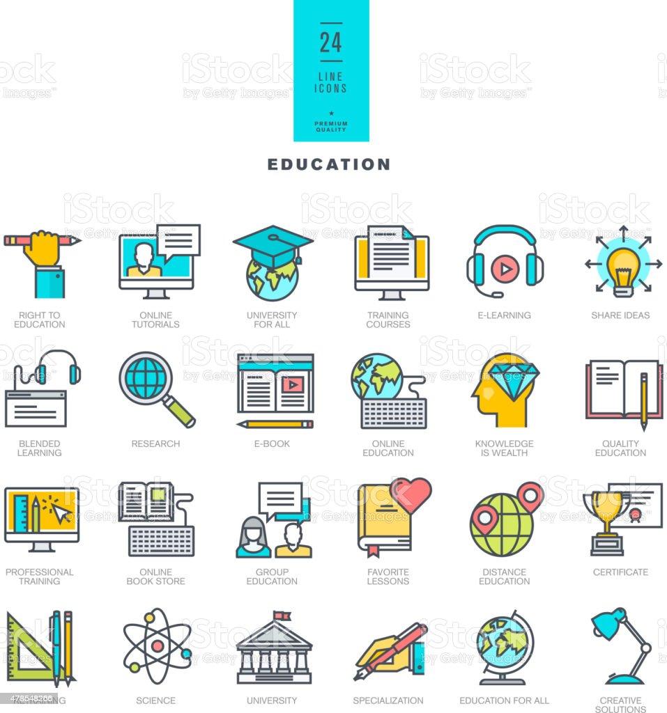 Set of line modern color icons for education vector art illustration