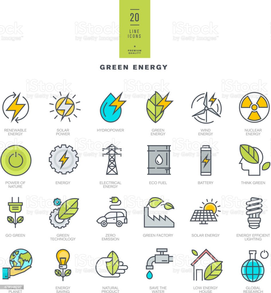 Set of line modern color icons for green energy vector art illustration