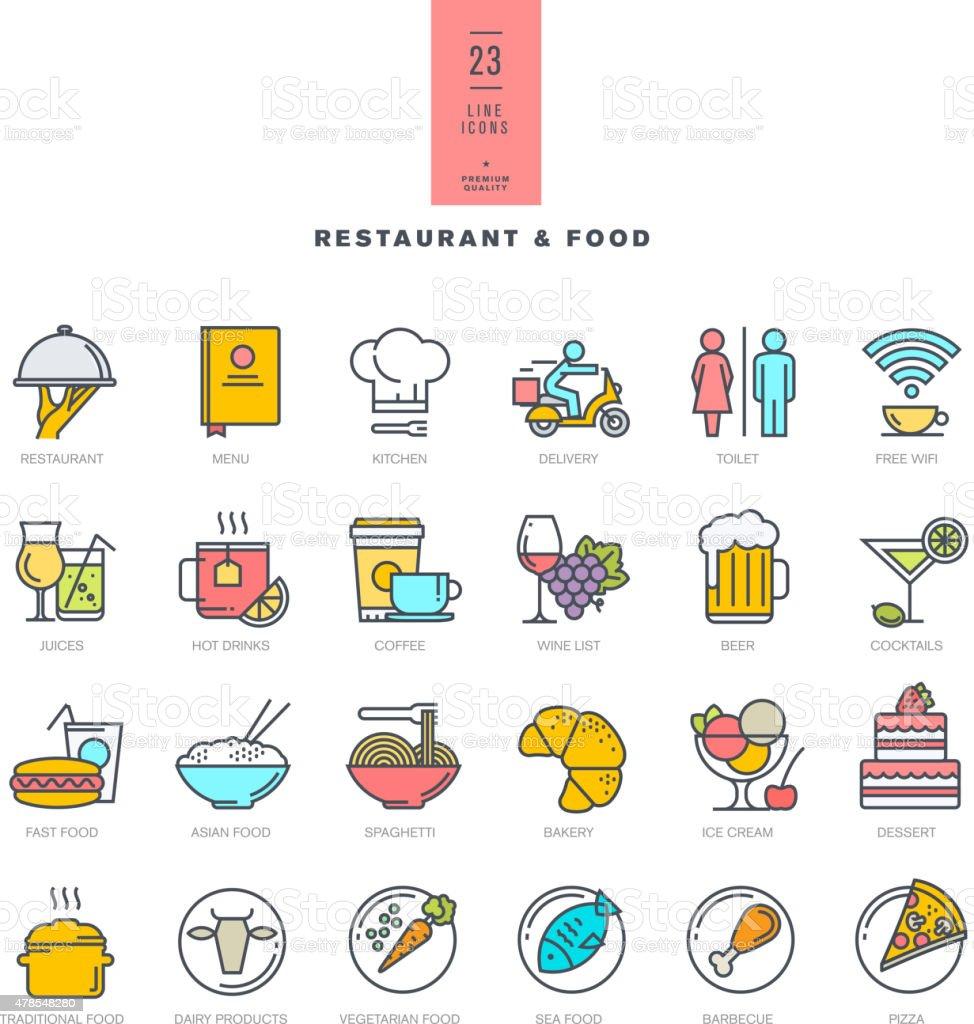 Conjunto de iconos de colores de la moderna para restaurante y alimentos illustracion libre de derechos libre de derechos