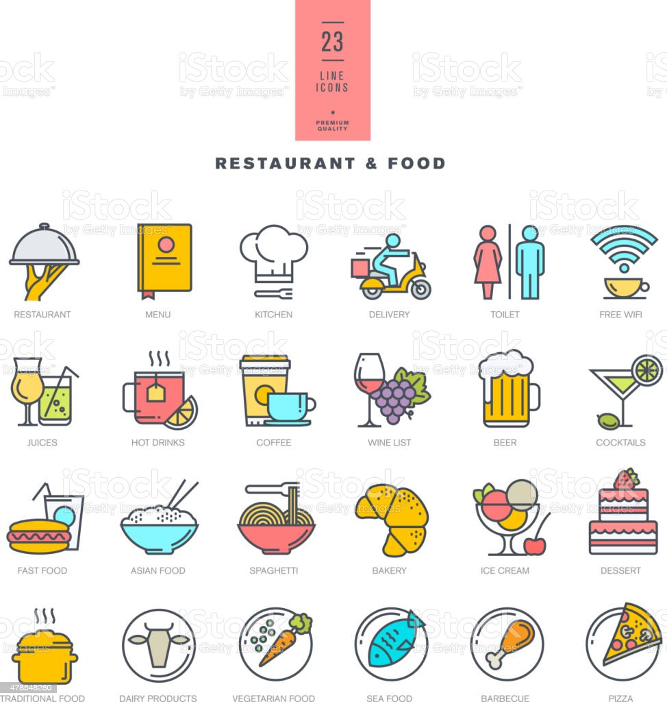 Set of line modern color icons for restaurant and food vector art illustration