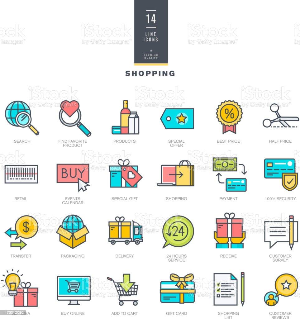 Conjunto de iconos de colores de la moderna para ir de compras illustracion libre de derechos libre de derechos