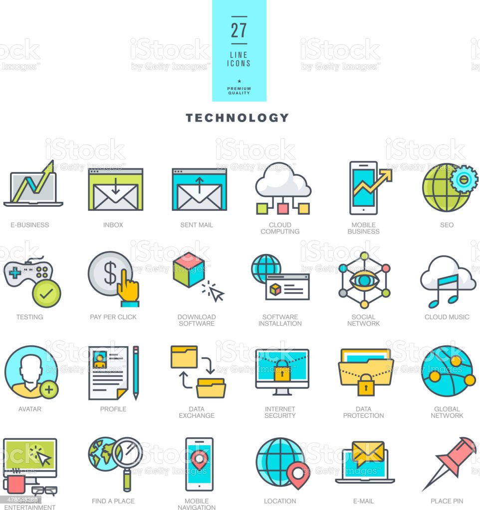 Set of line modern color icons for technology vector art illustration